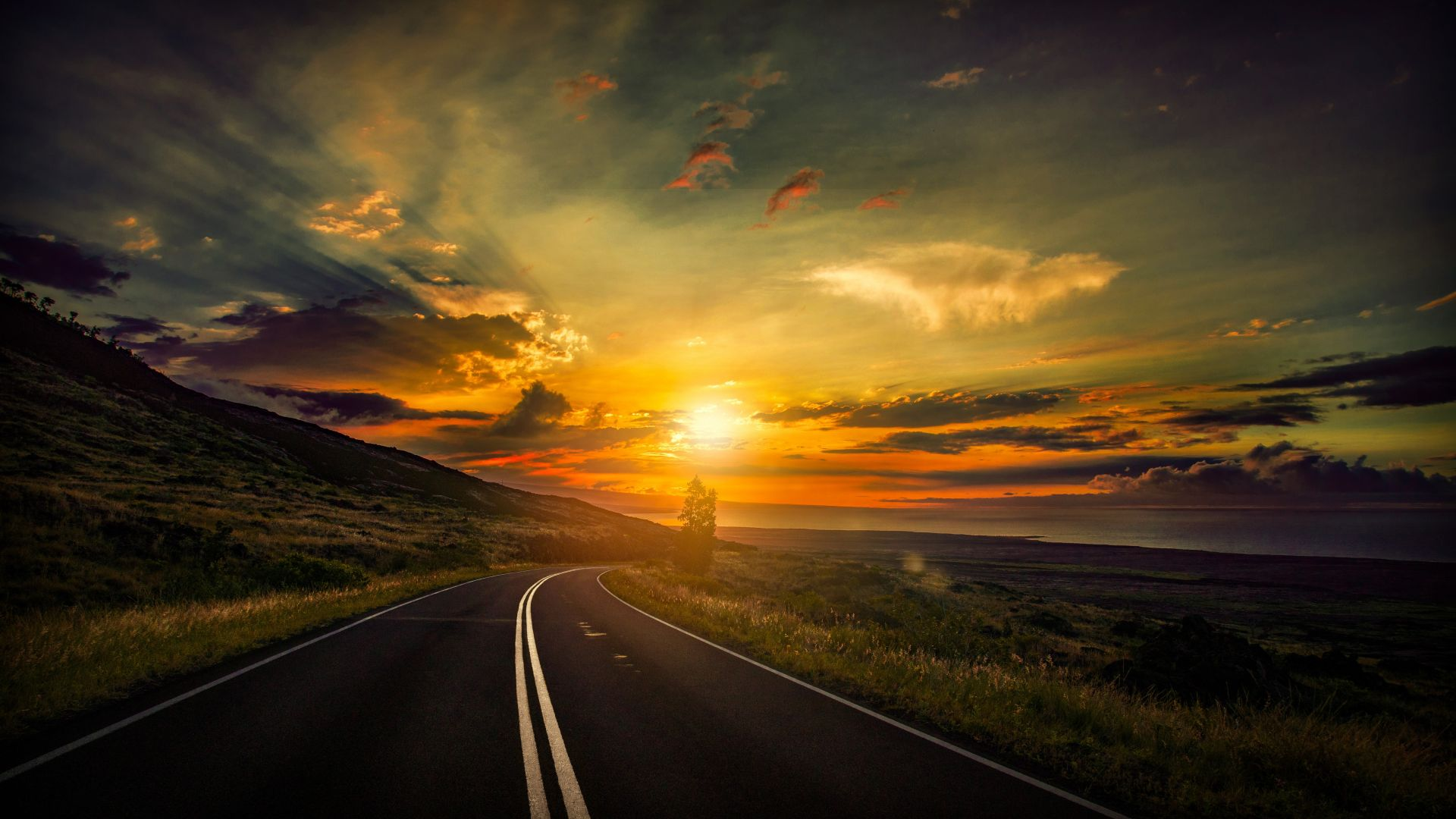 road, clouds, sunset