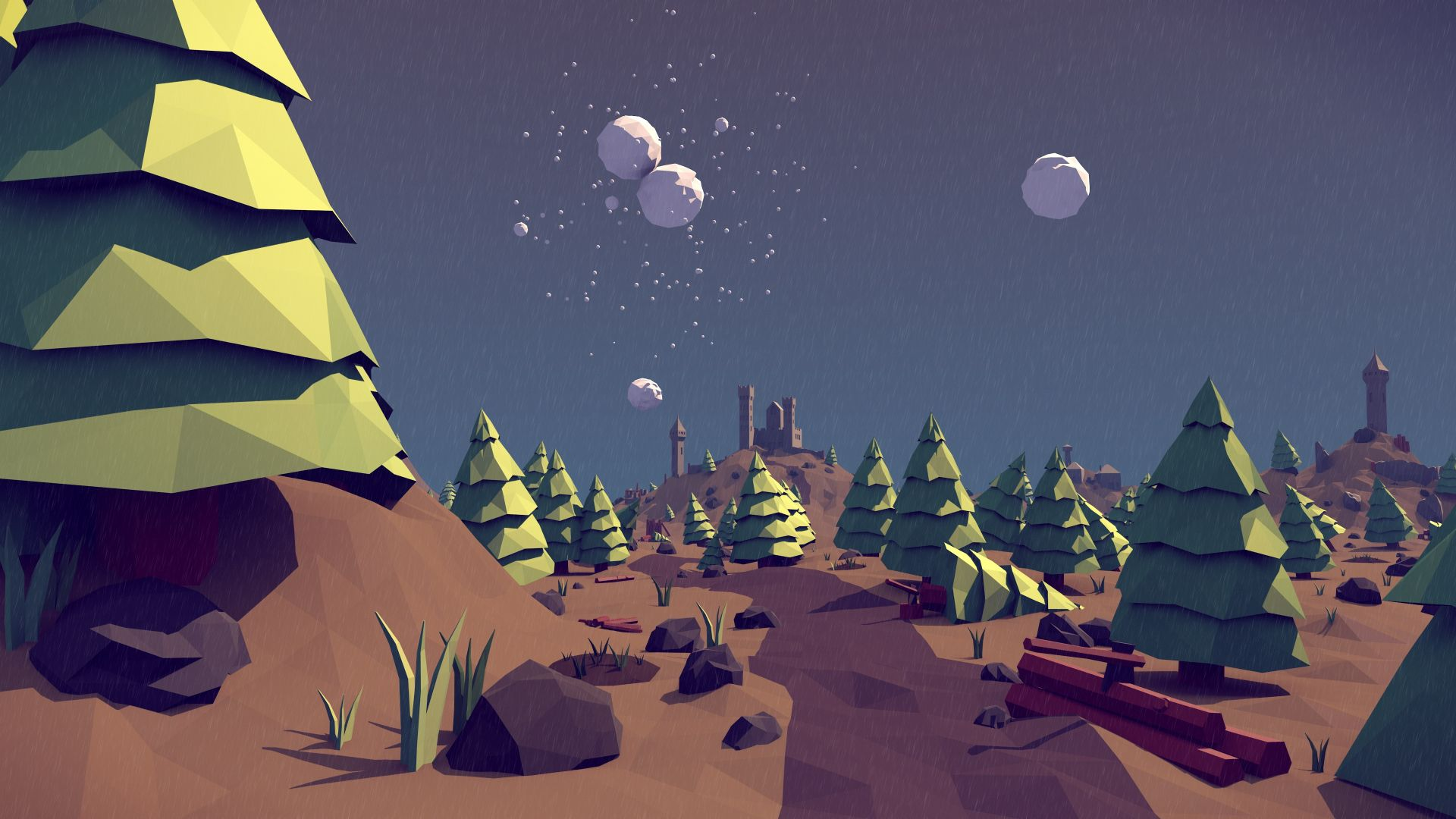 polygon, 4k, 5k wallpaper, landscape, nature, low poly, 3D (horizontal)