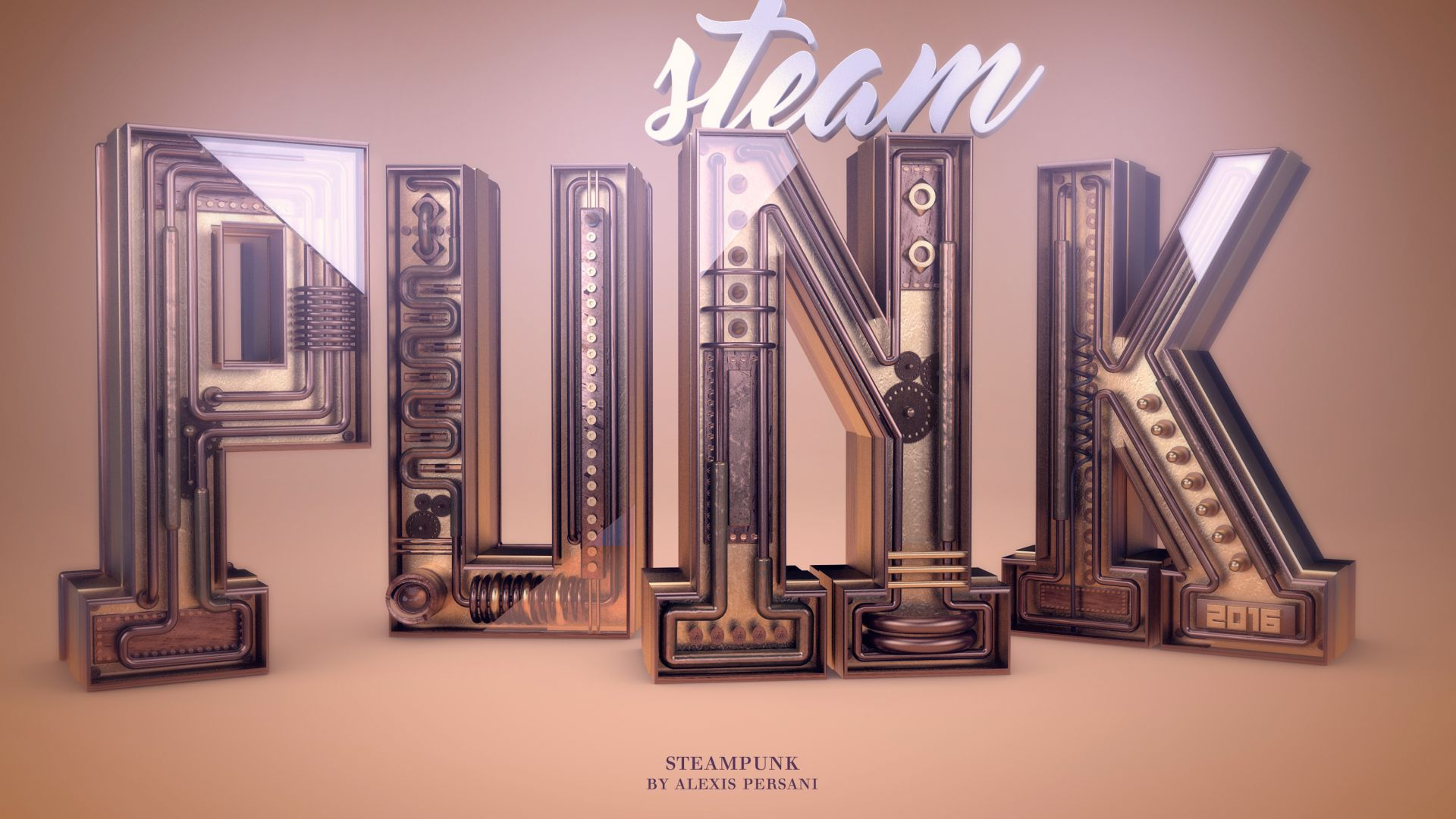abstract, font, typography, steam punk, shape, 3D, 4k wallpaper
