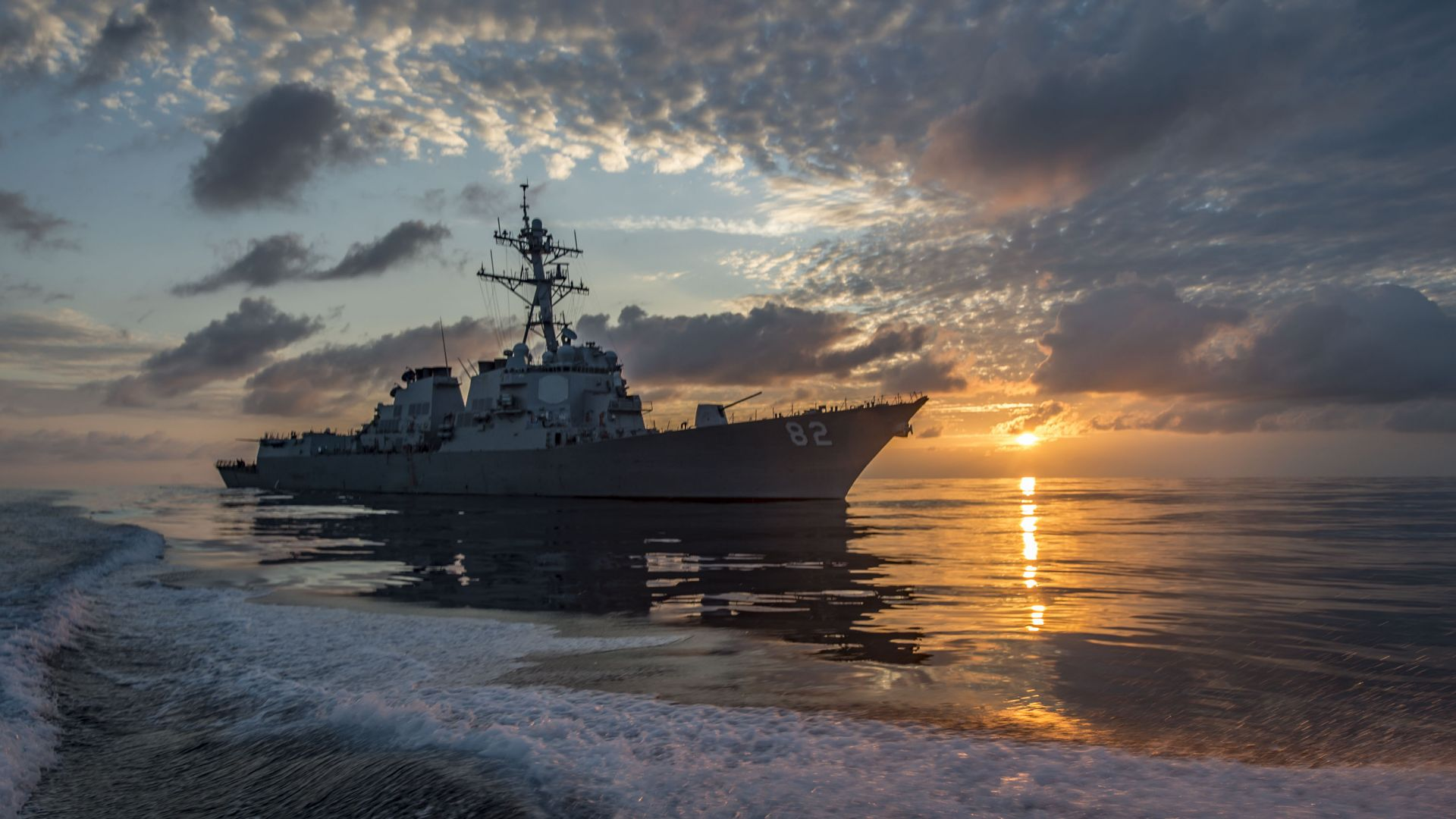 USS Lassen (DDG-82), Arleigh Burke-class, guided missile destroyer, USA Navy (horizontal)