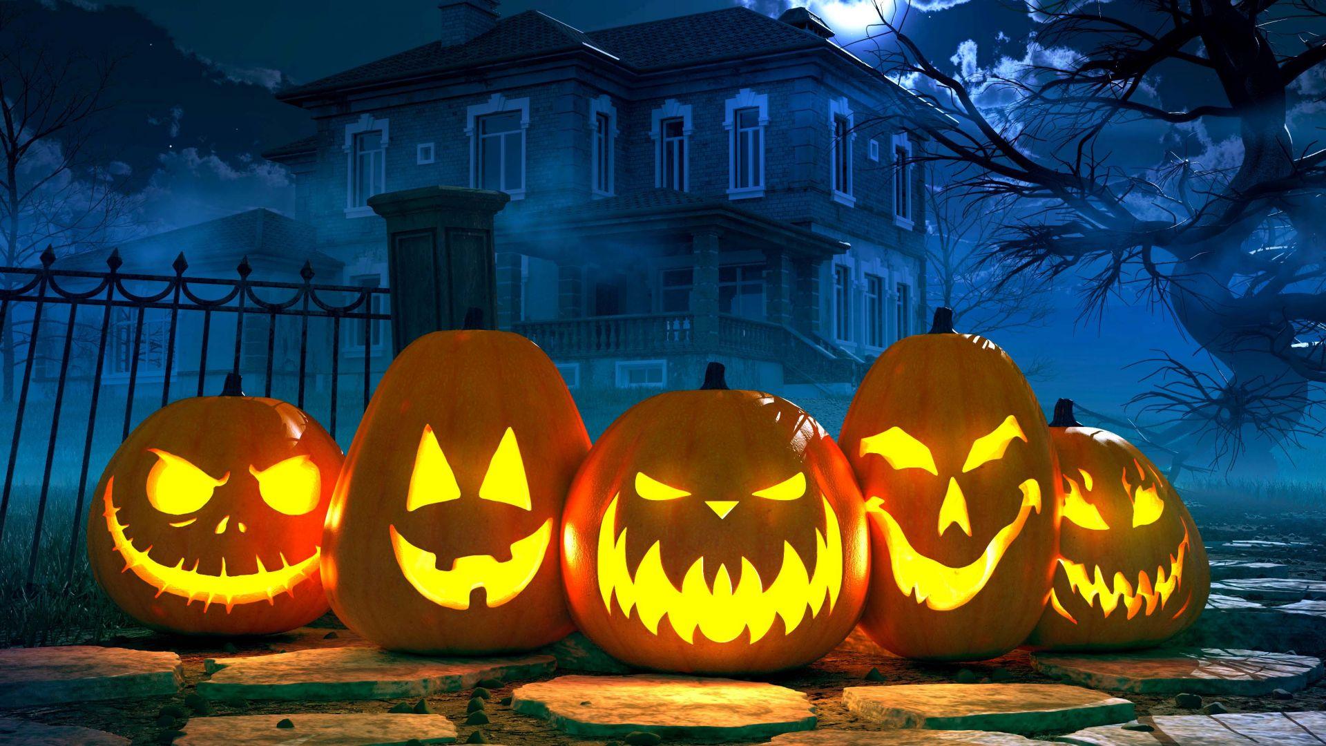 Wallpaper Halloween, pumpkin, 4k, Holidays #16304
