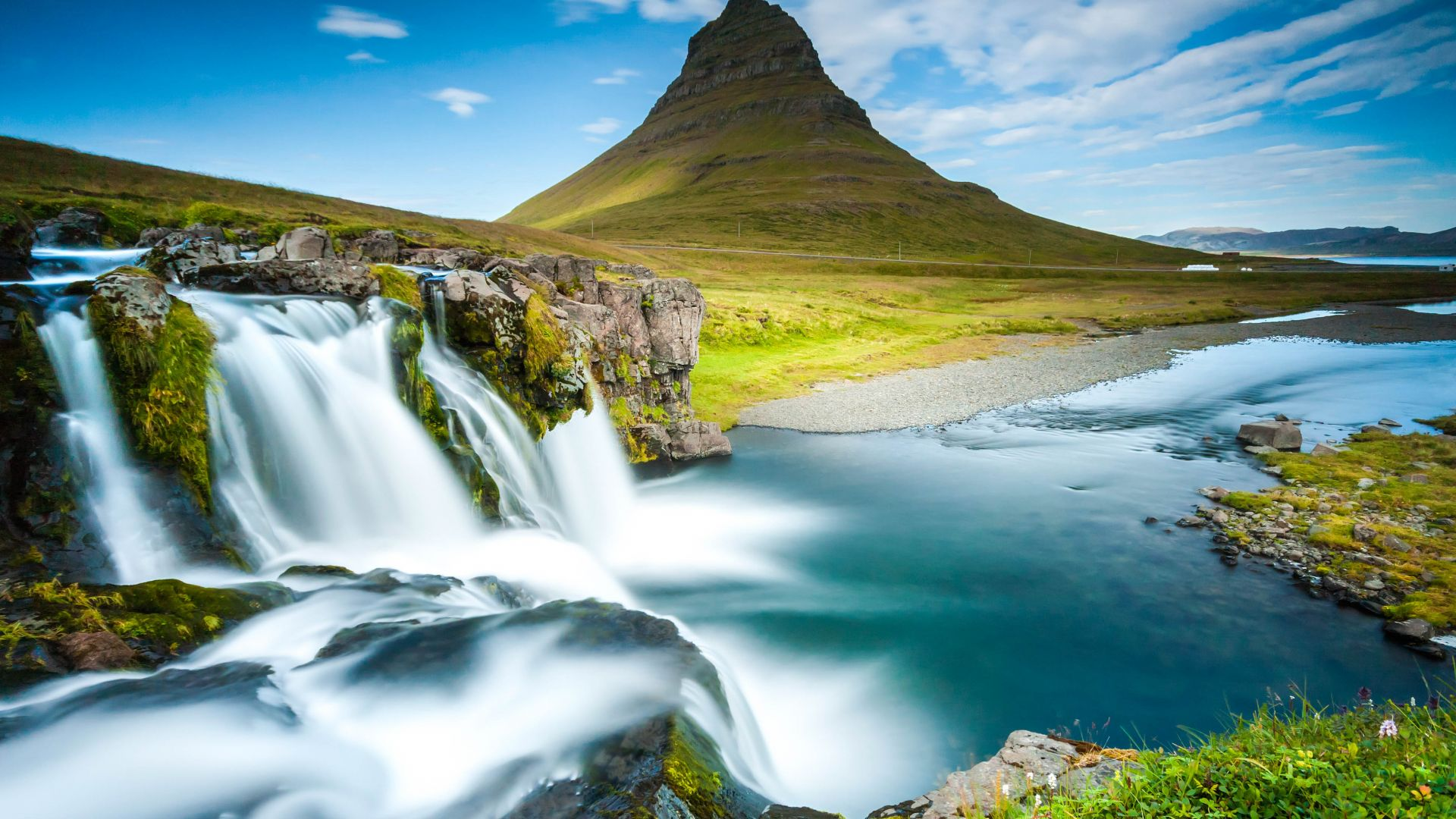 Wallpaper reykjavik iceland waterfall river mountain for Wallpaper home 4k