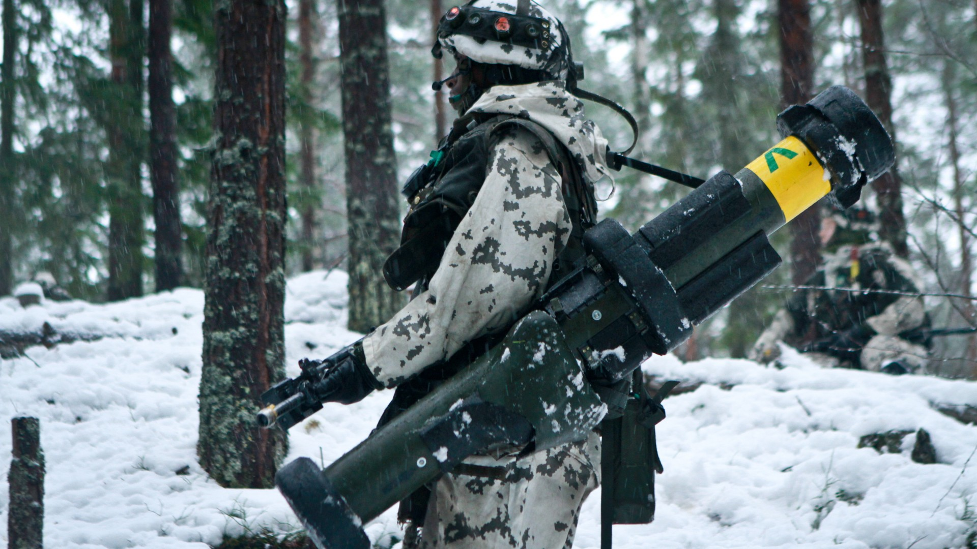 army, soldier, Finnish Defence Forces, rocket launcher, winter, snow, camo (horizontal)