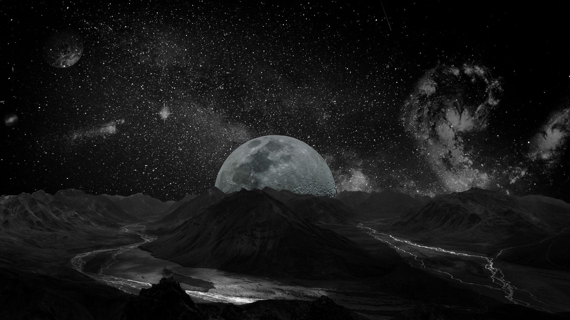 Black Book Cars >> Wallpaper moon, planet, space, milky way, 5k, Space #17041