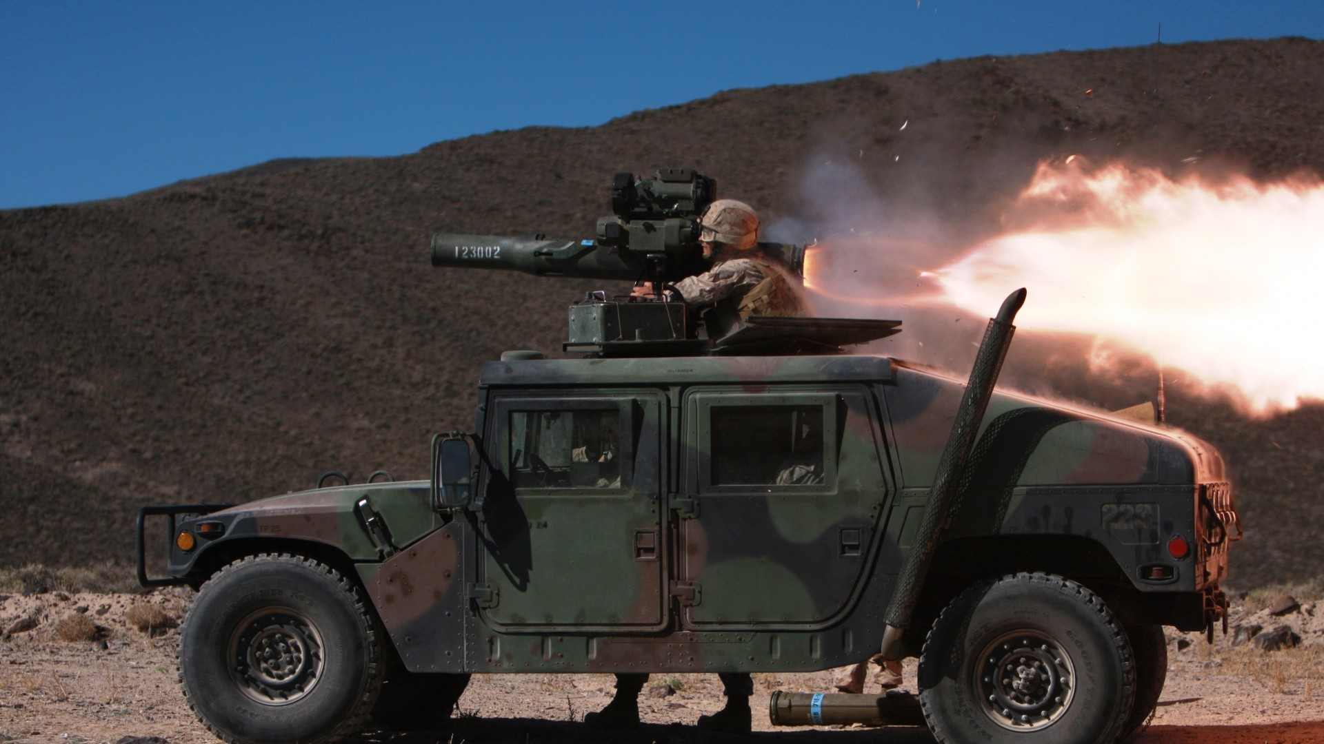 wallpaper humvee hmmwv suv rocket launch soldier  army military