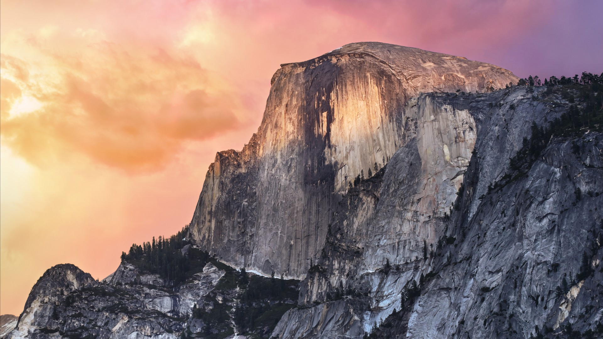 El Capitan, 5k, 4k wallpaper, 8k, yosemite, forest, OSX, apple, mountains, sunset (horizontal)