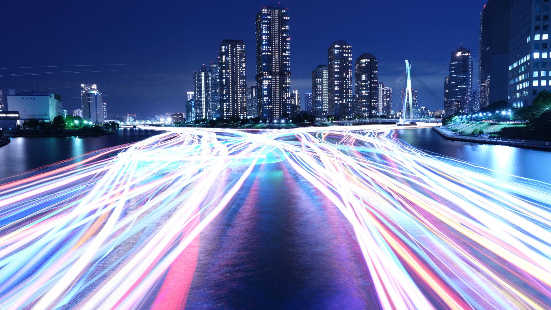 Wallpaper city light night river 4k 8k architecture - Night light city wallpaper ...