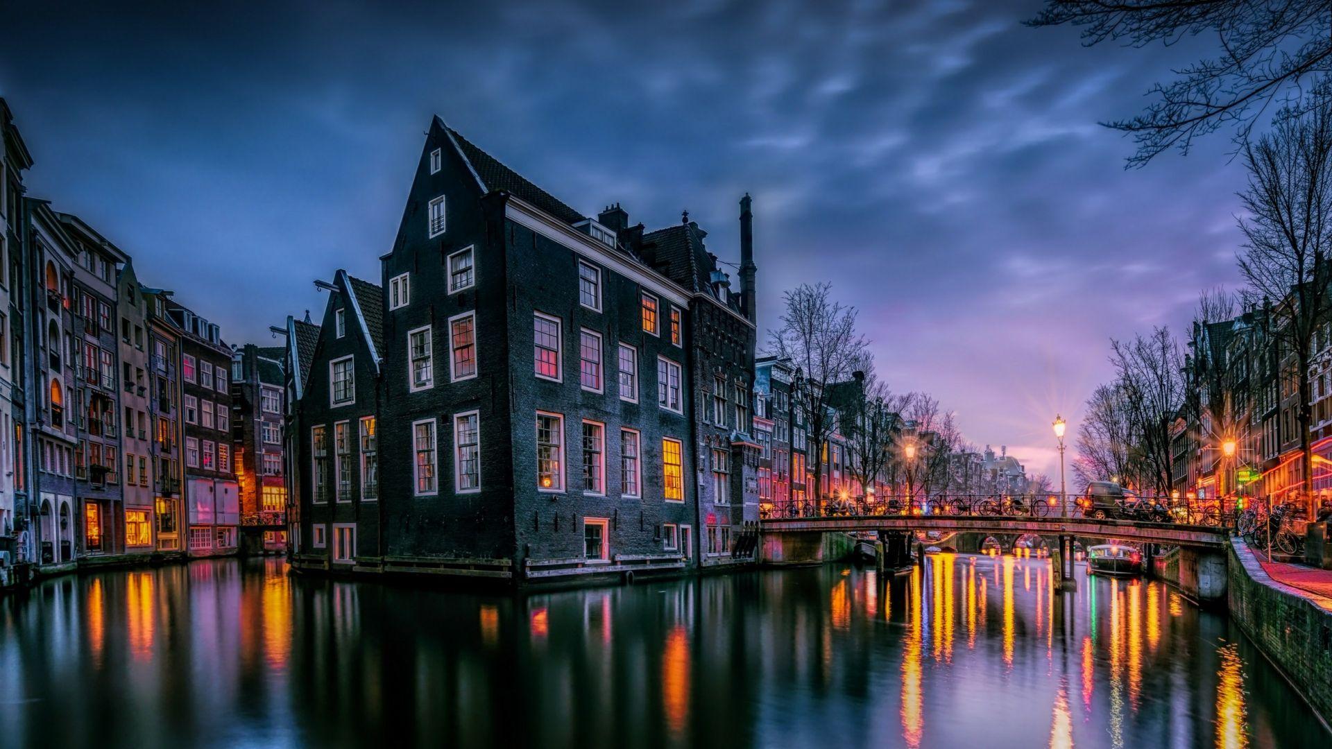 Wallpaper Amsterdam, Channel, 4K, Architecture #18504