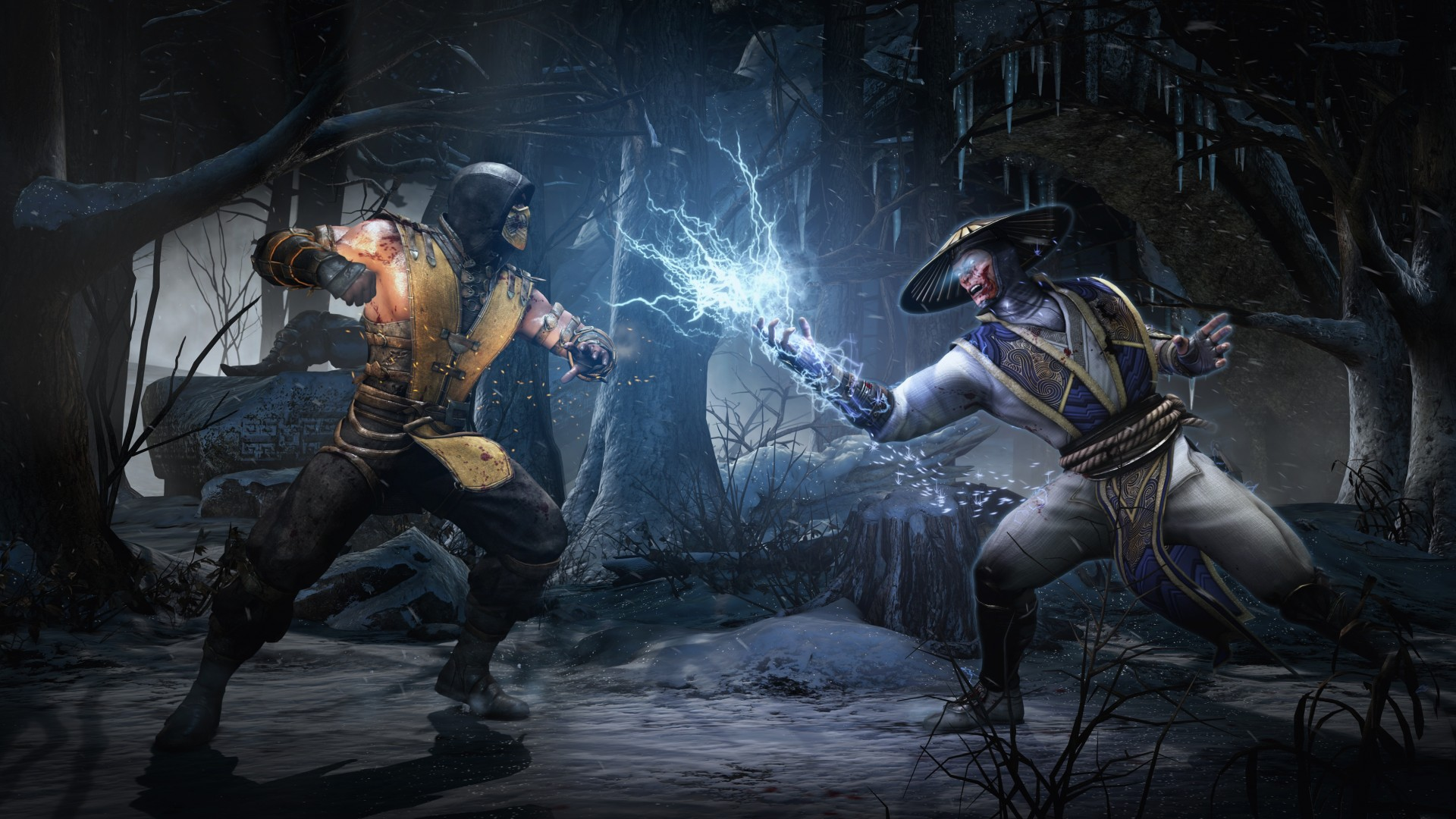 Mortal Kombat X, game, fighting, scorpion, raiden, lighting, forest, screenshot, 4k, 5k, PC, 2015 (horizontal)