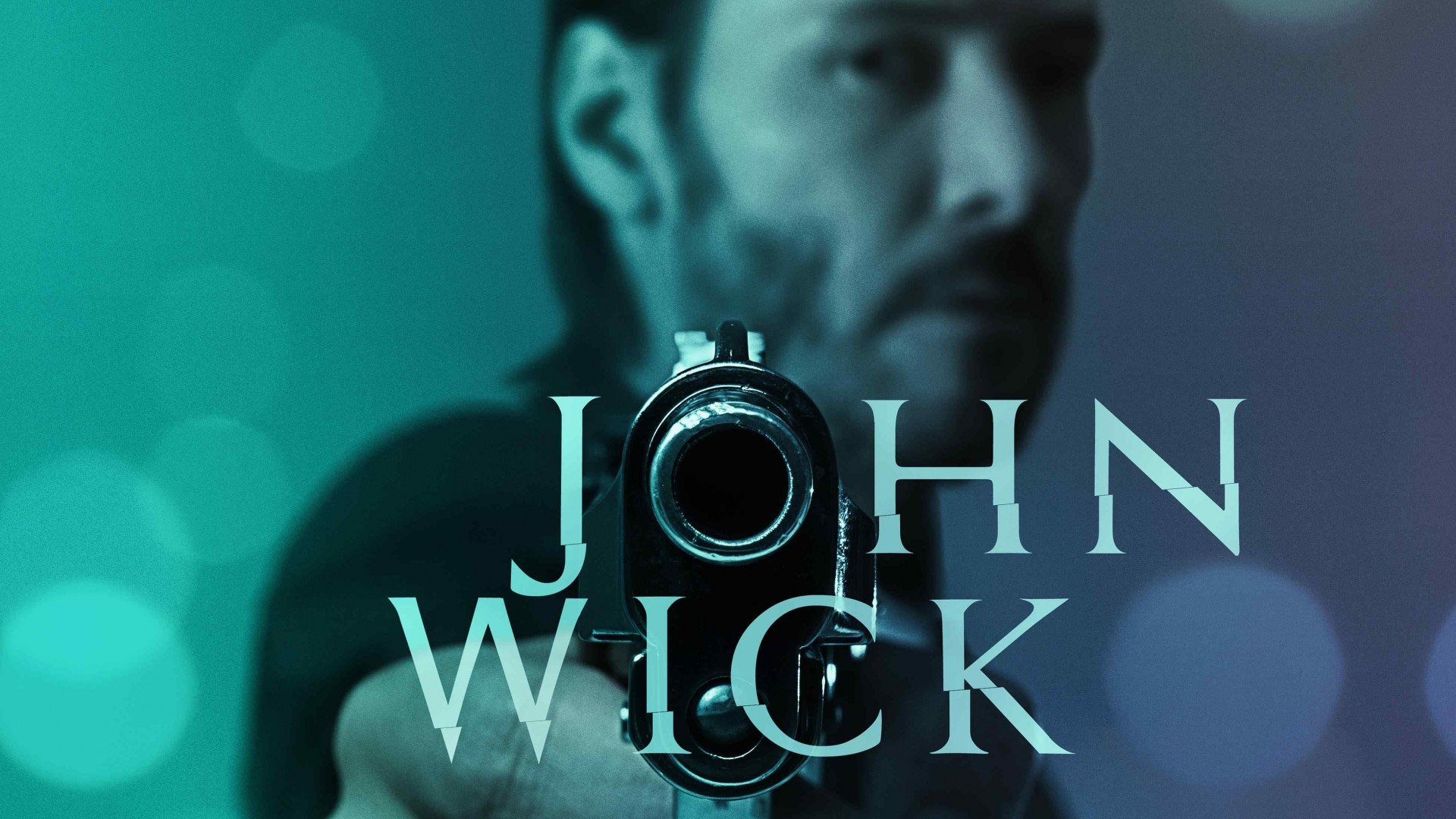 John Wick, 2015, movie, film, gun, blue, green, weapon, Keanu Reeves, Michael Nyqvist, Willem Dafoe, poster (horizontal)