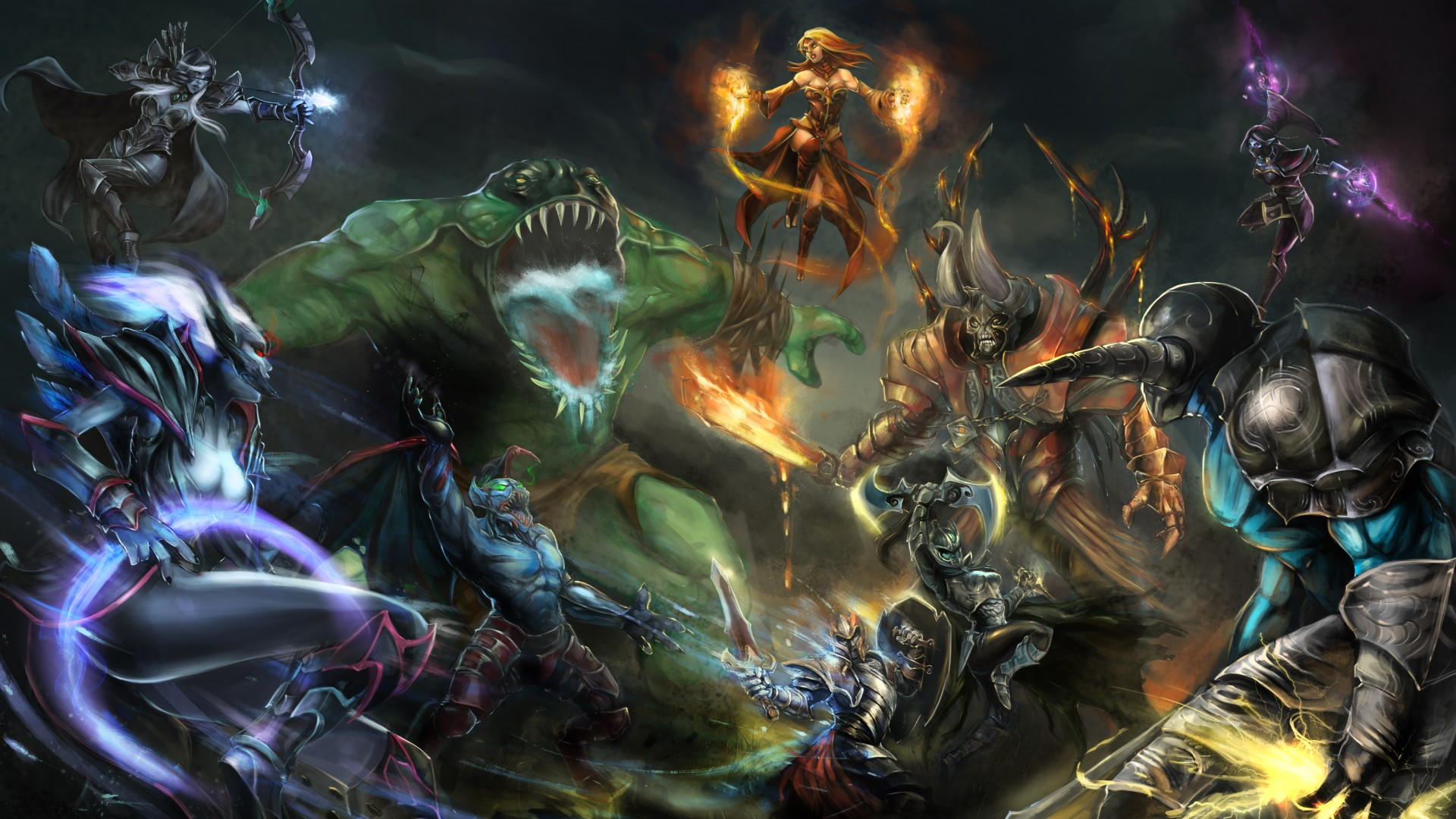 Dota 2, game, characters, hero, monster, fantasy, art, fire, ice, Magic, Lightning, battle, fan art, ShadowFiend, Faceless Void, Sven, Lina, Tiny, Razor, Viper, TideHunter, Crystal Maiden, Juggernaut (horizontal)