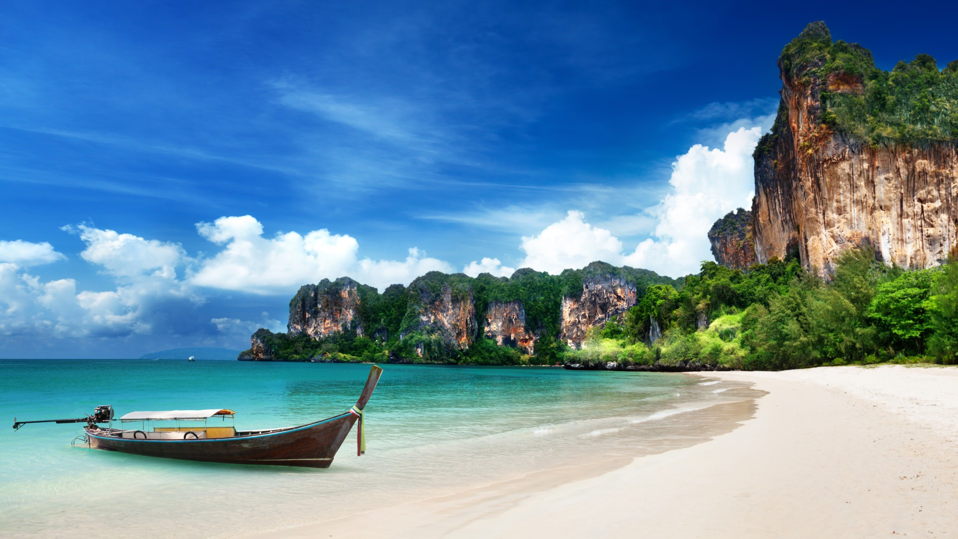 Krabi Beach, HD, 4k wallpaper, Thailand, Best Beaches in the World, tourism, travel, resort, vacation, sand, boat, sky, World's best diving sites (horizontal)