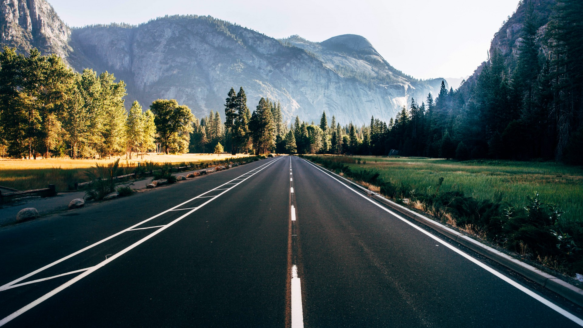 Yosemite, 5k wallpapers, forest, OSX, apple, mountains, road