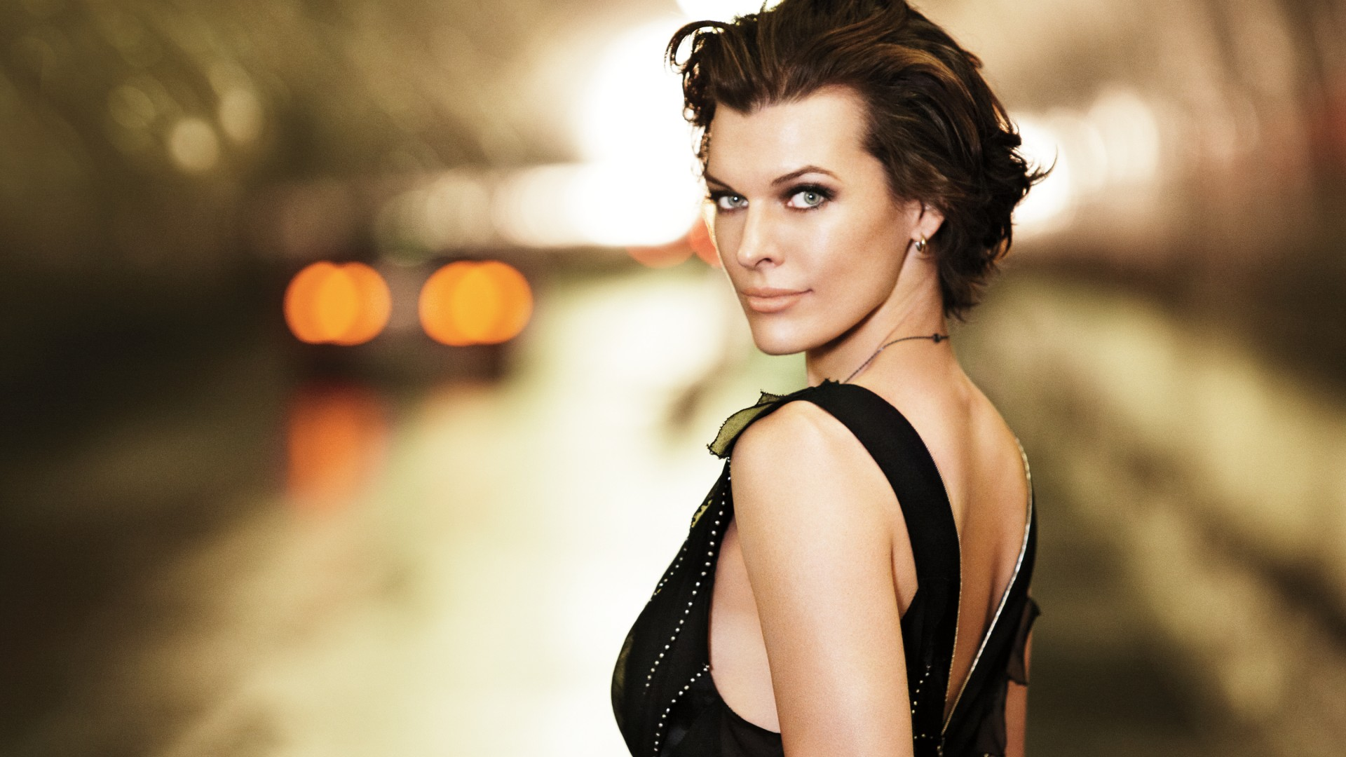 Milla Jovovich, actress, portrait, road (horizontal)
