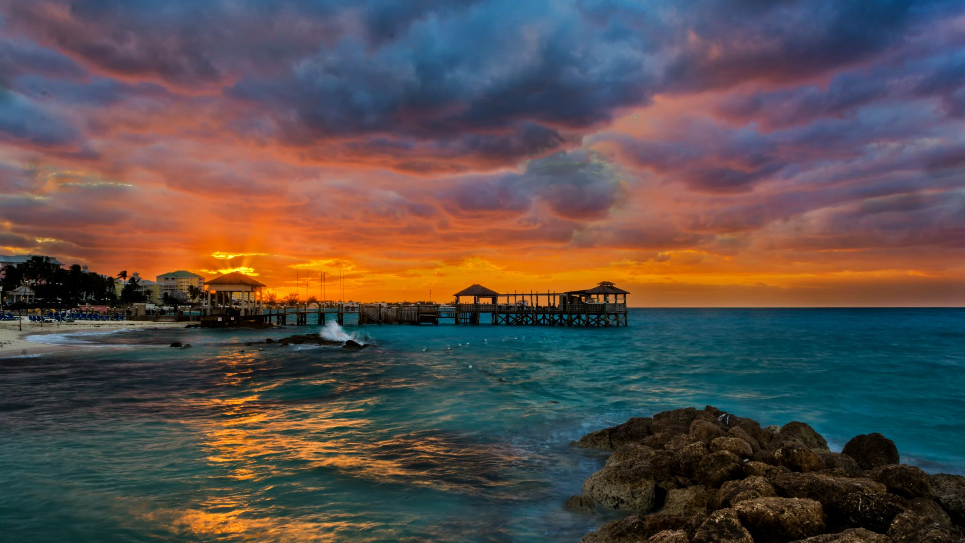 Wallpaper Sea, 5k, 4k wallpaper, ocean, sunset, rocks ...