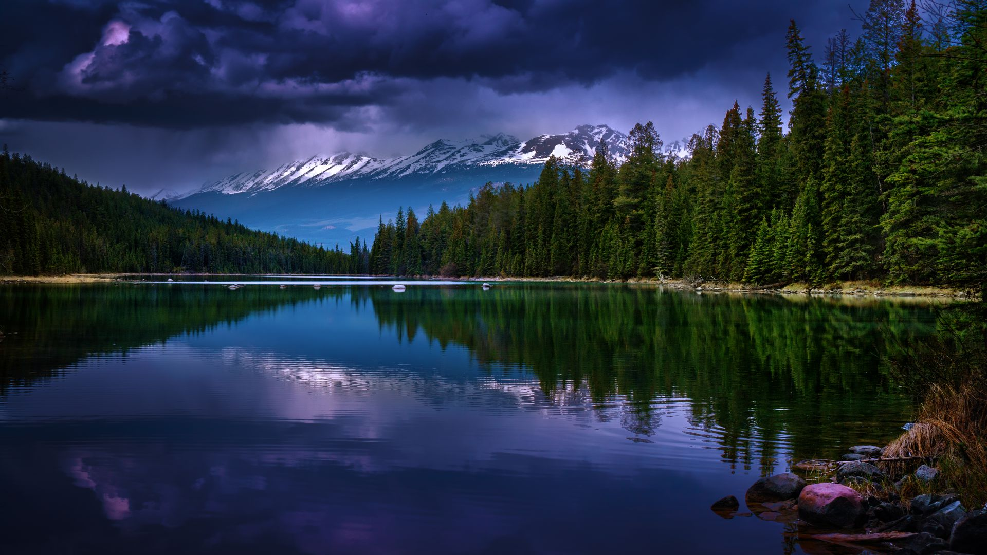 Mountains, river, pines, trees, clouds