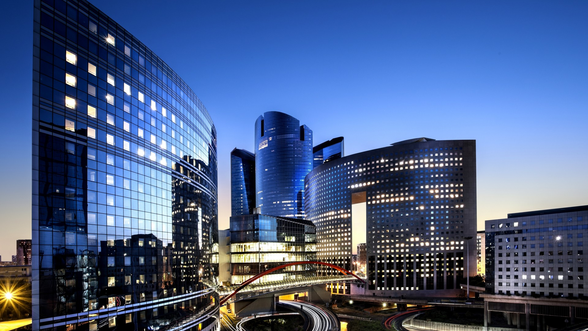 wallpaper france paris defense city night dusk buildings skyscrapers travel booking. Black Bedroom Furniture Sets. Home Design Ideas