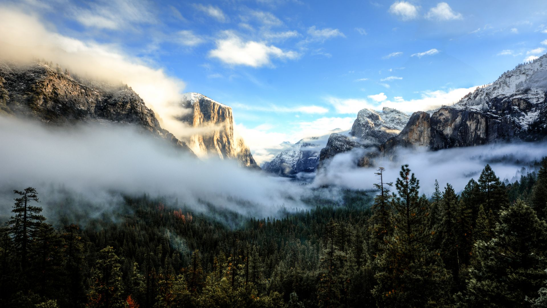 Tunnel View, Yosemite, CA, Sunset, mountains, clouds, pines