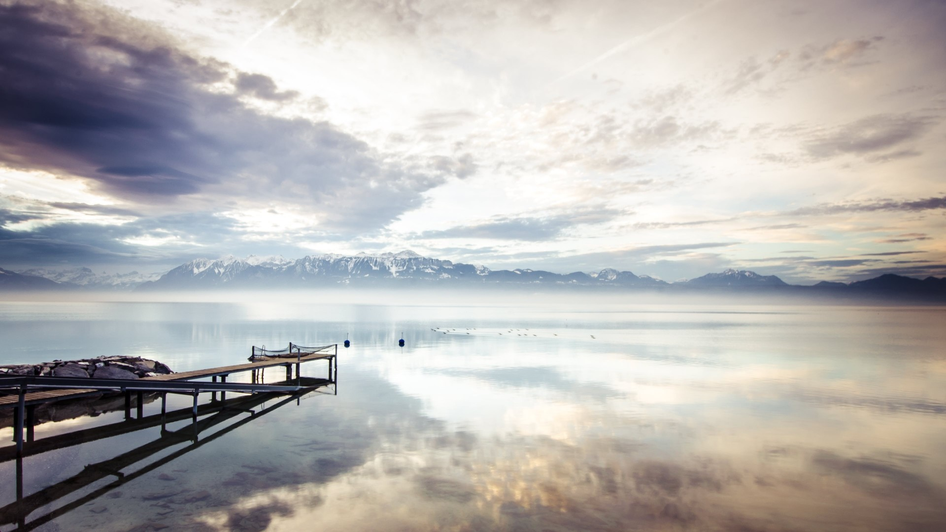 lake, 4k, HD wallpaper, sea, mountains, nature, reflection, water, white, sky, clouds (horizontal)