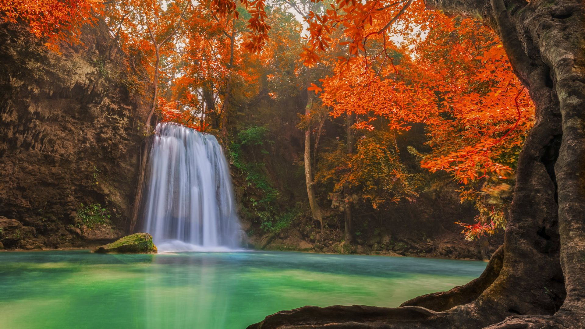 Waterfall, Thailand, travel, tourism, River, autumn