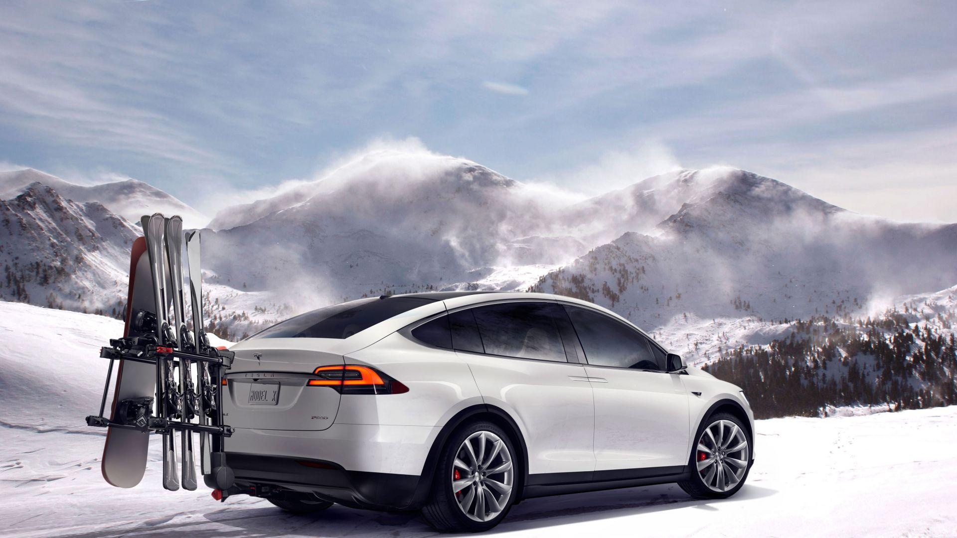Wallpaper Tesla Model X White Electric Cars Suv Cars
