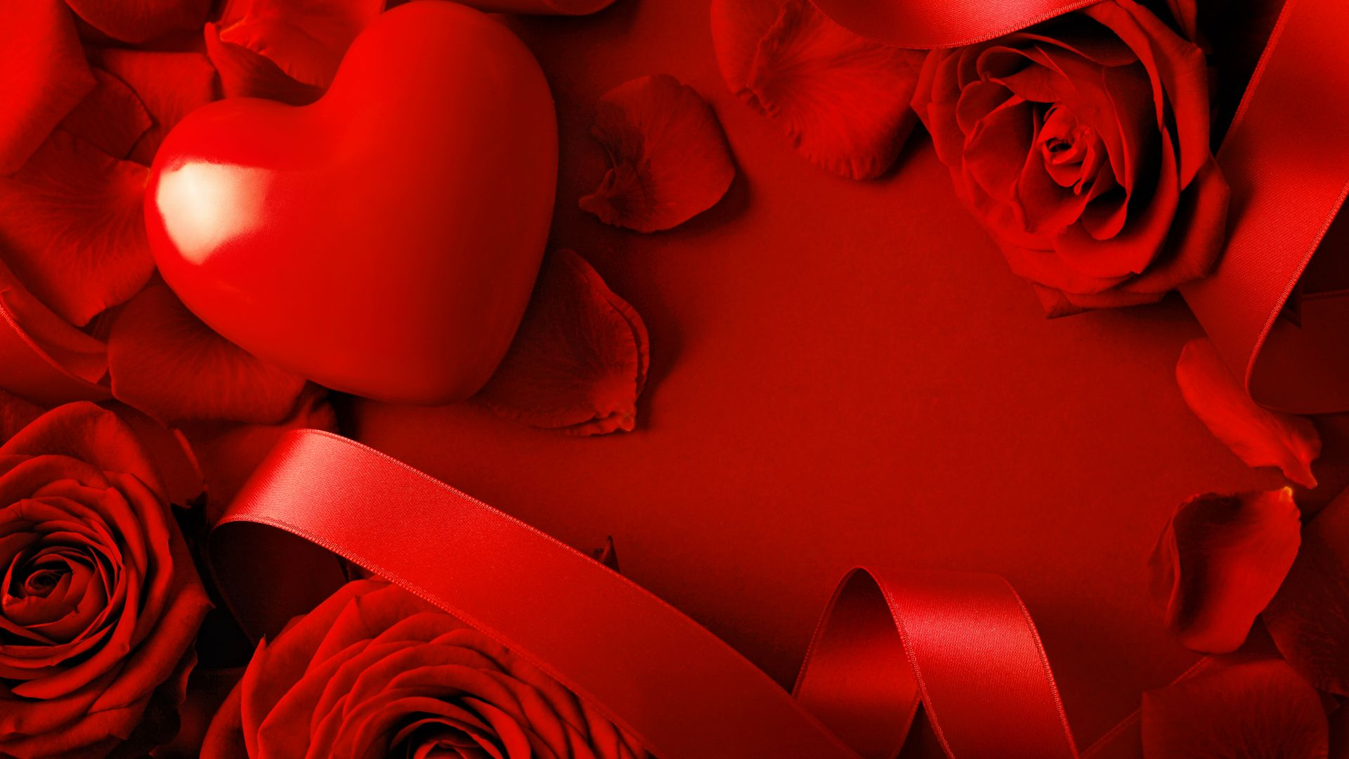 Wallpaper Valentine's Day, Heart, Rose, Red, Ribbon