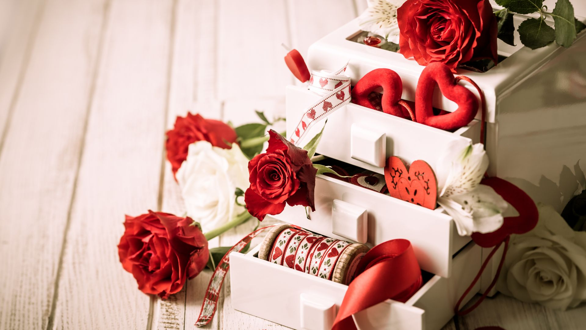 Valentine's Day, rose, heart, ribbon, romantic, love (horizontal)