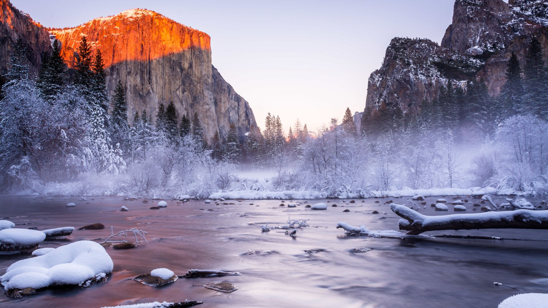 Yosemite, 5k, 4k wallpaper, National Park, California, USA, winter, tourism, travel, lake, mountain (horizontal)