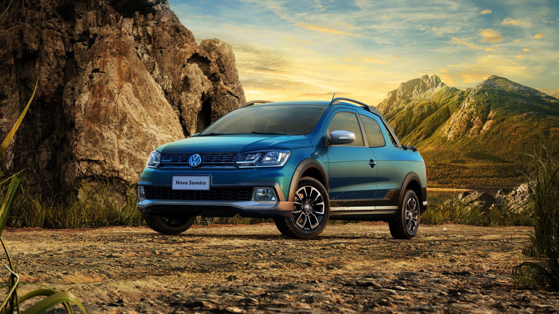 Wallpaper Volkswagen Saveiro Cross CD, Pickup, Blue, Cars