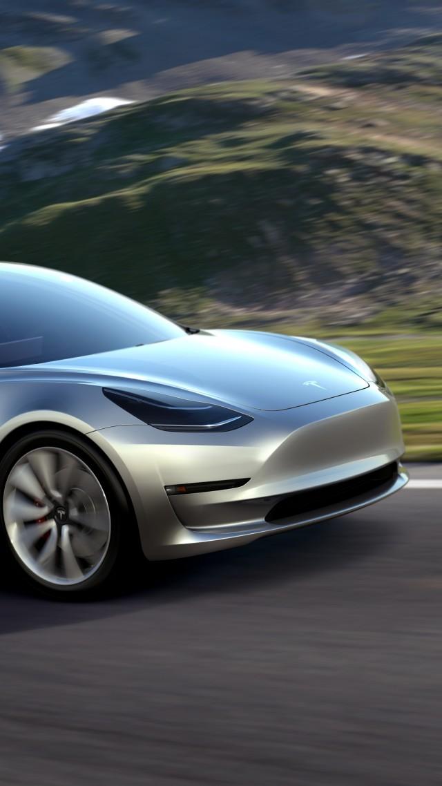 Wallpaper Tesla Model 3 Prototype Electric Cars Sedan