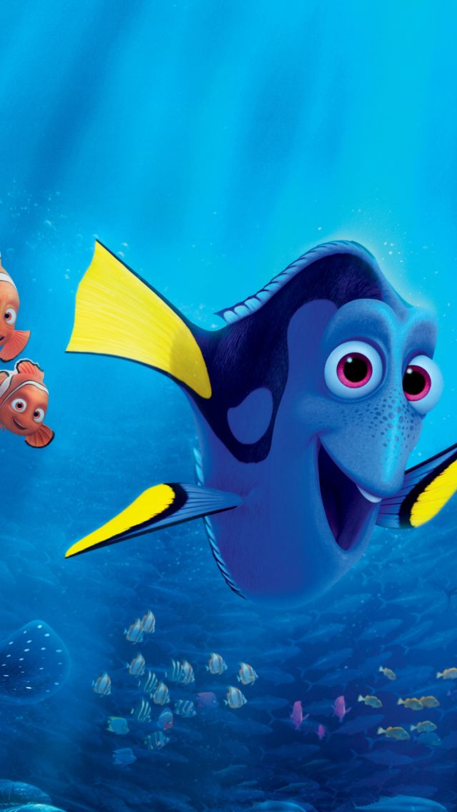 Wallpaper finding dory nemo shark fish pixar for Fish cartoon movie