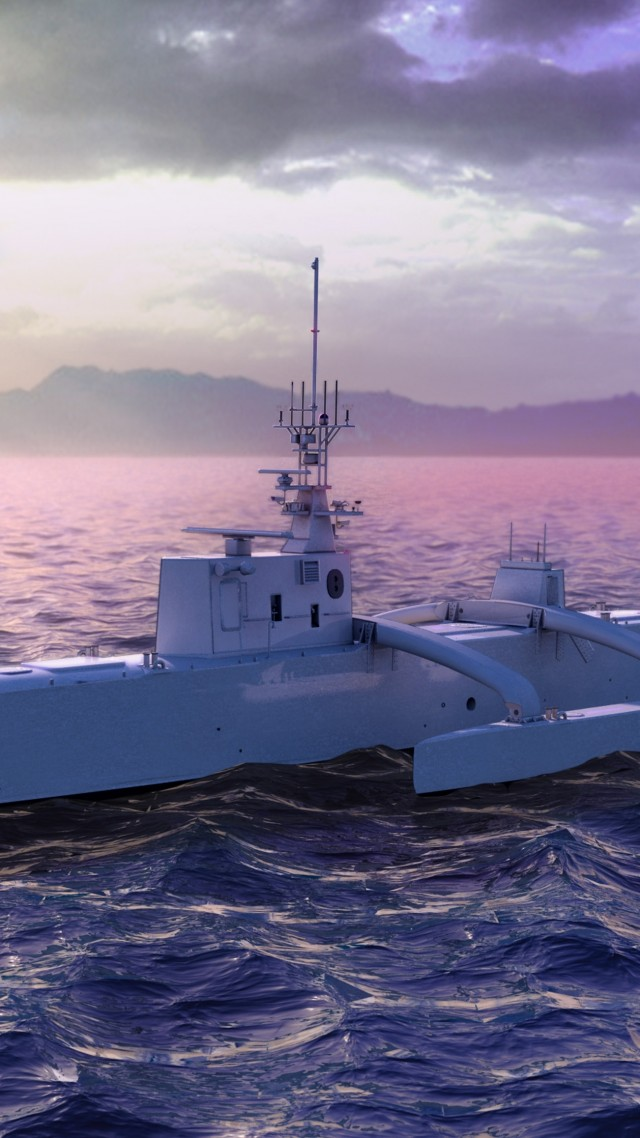 ACTUV, Anti-Submarine Warfare Continuous Trail, Unmanned Vessel, USA Navy (vertical)