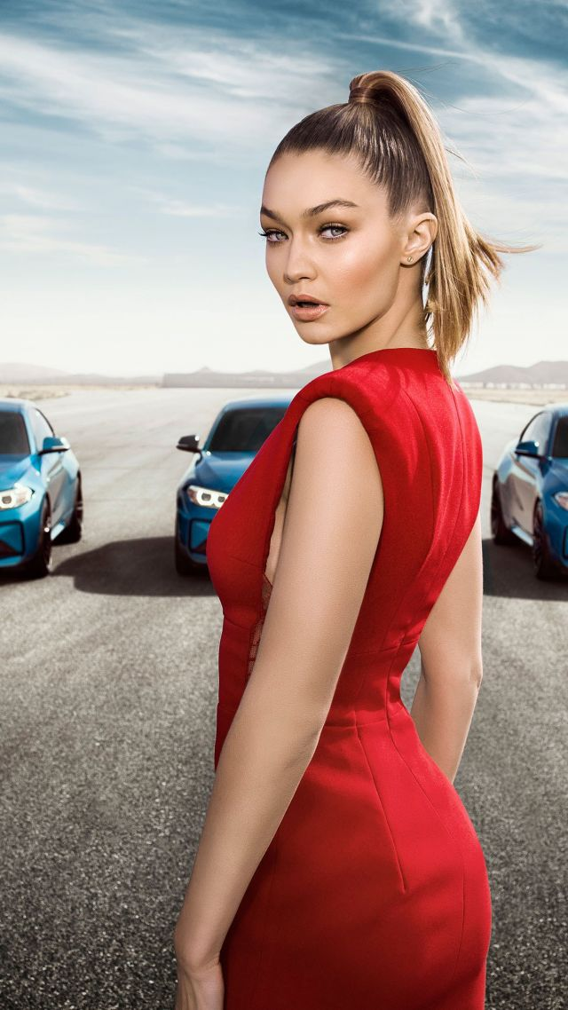 BMW M2 Coupe, Gigi Hadid, supermodel, red dress (vertical)
