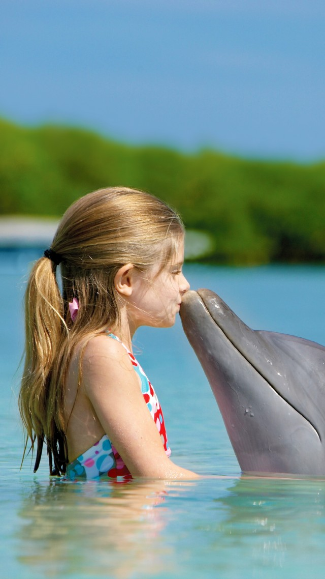 Girl and dolphin, ocean, Maldives (vertical)