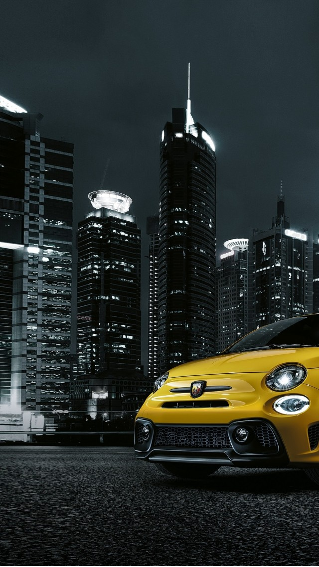 Wallpaper Fiat Abarth 595 Facelift Hatchback Night Town