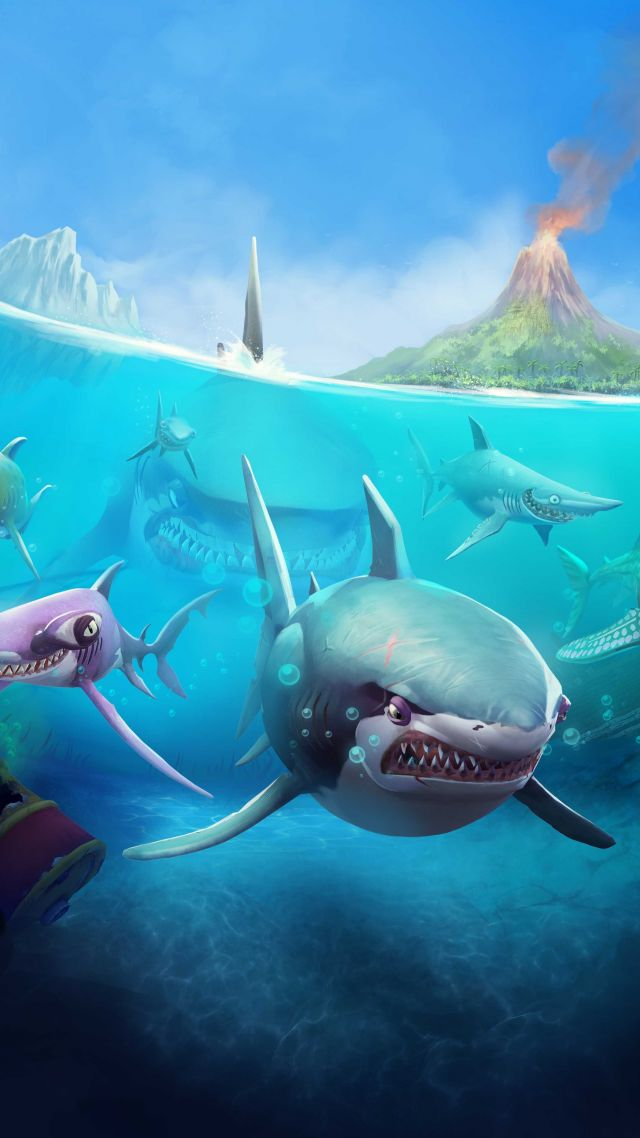 wallpaper hungry shark world ios android shark games 10815