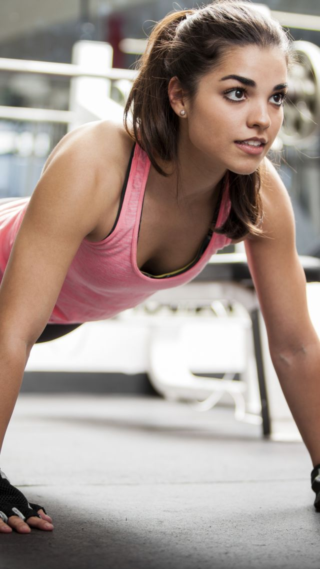 Girl, fitness, exercise, gym, dumbbells, workout, sportswear, motivation (vertical)
