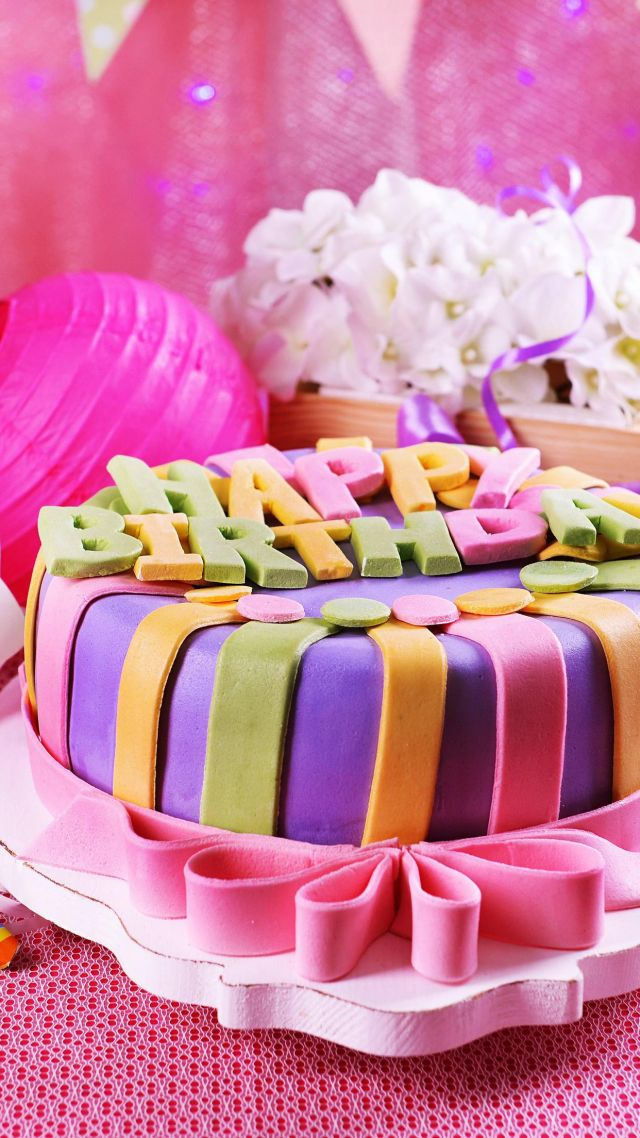 cake, pink, birthday (vertical)