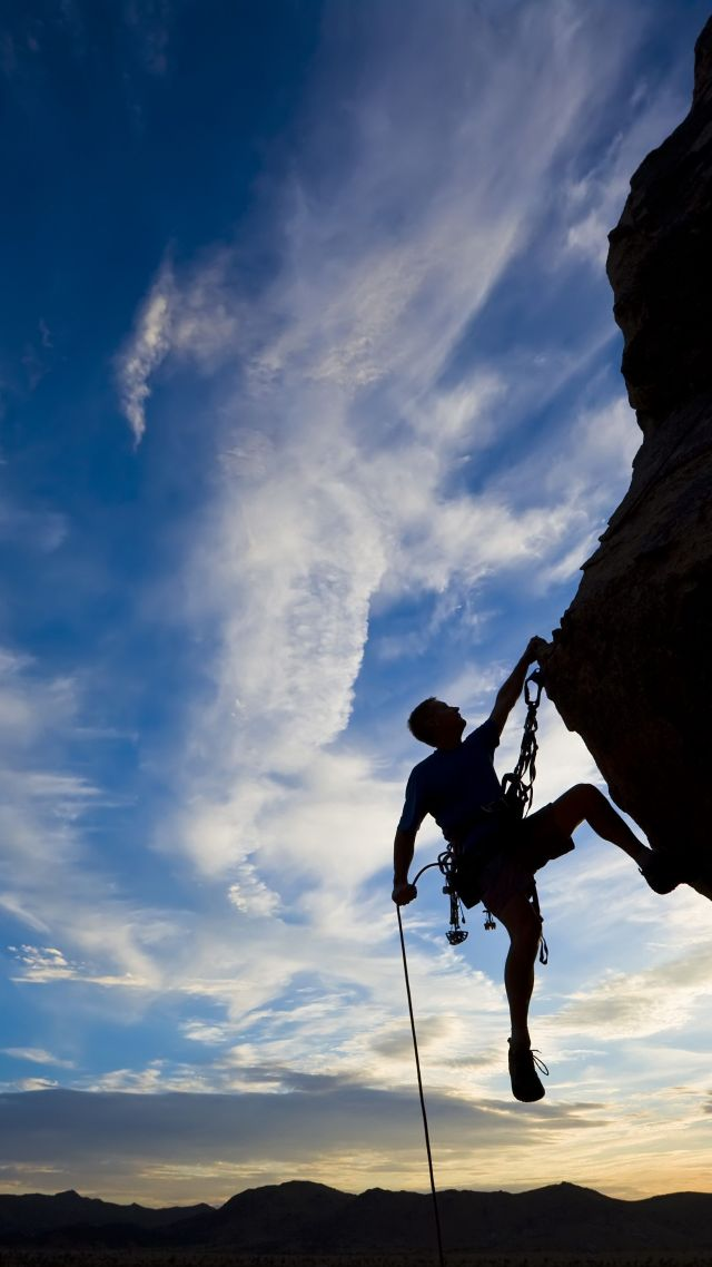 Extreme Silhouette Climbing Rock Sunset Vertical