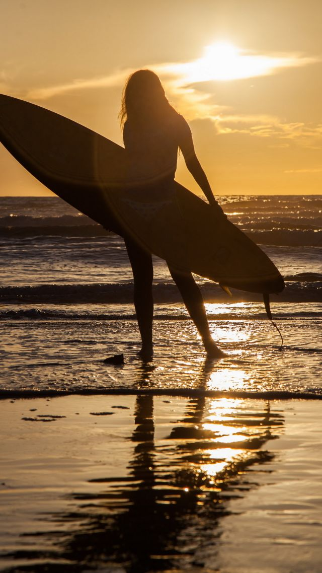 Surfing, girl, sea, wave (vertical)