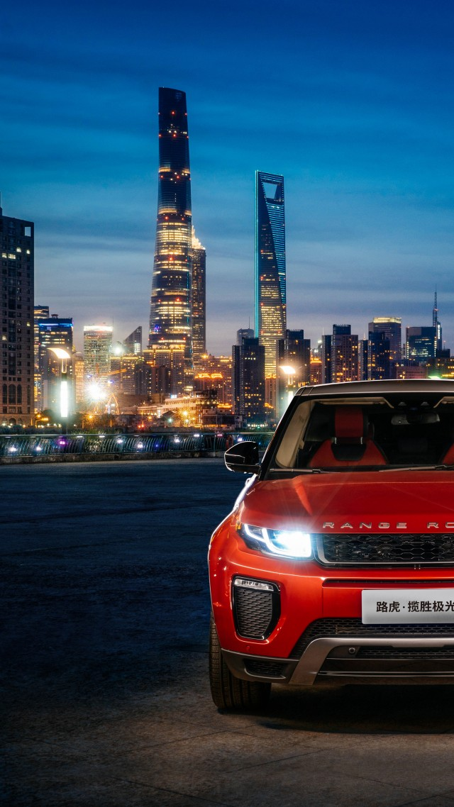 Wallpaper Range Rover Evoque Red Town Night Cars Bikes 11295