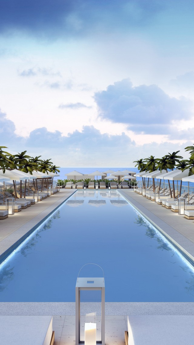 Miami, south beach, hotel, pool, sunbed, water, palm, sky, sea, ocean, water, travel, vacation, booking (vertical)