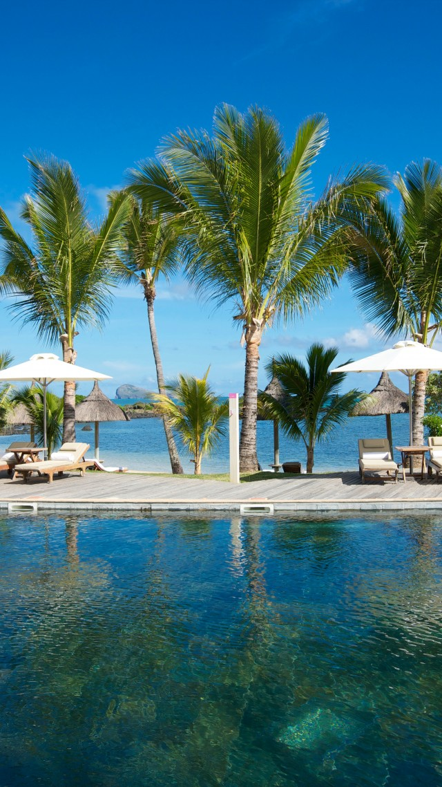 Grand Gaube, Mauritius, Hotel, pool, water, sunbed, palm, sky, blue, sea, ocean, travel, vacation, booking, World's best diving sites (vertical)