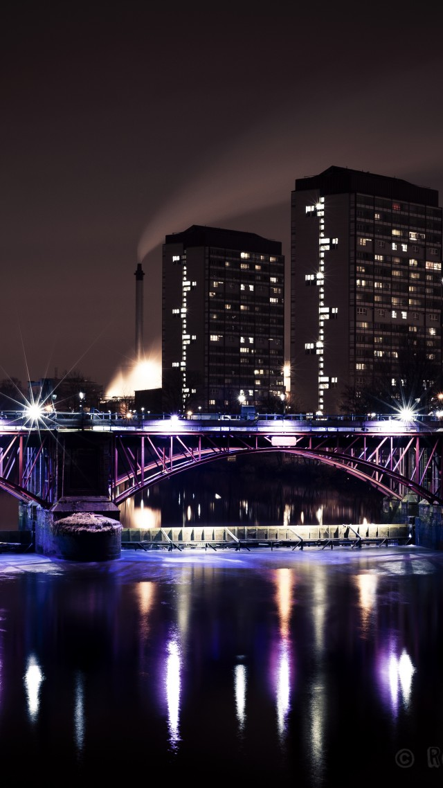 Glasgow, Scotland, Hotel, bridge, sea, lake, ocean, water, light, night, sky, travel, vacation, booking (vertical)