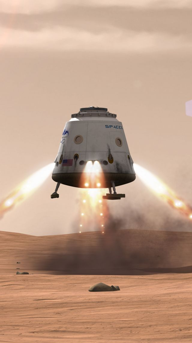 wallpaper spacex  ship  red dragon  mars  space  12074