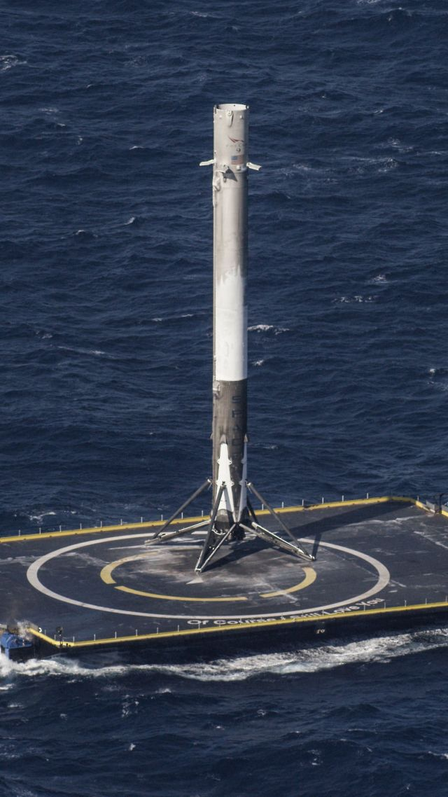 Wallpaper Spacex Ship Sea Platform Rocket Space 12075