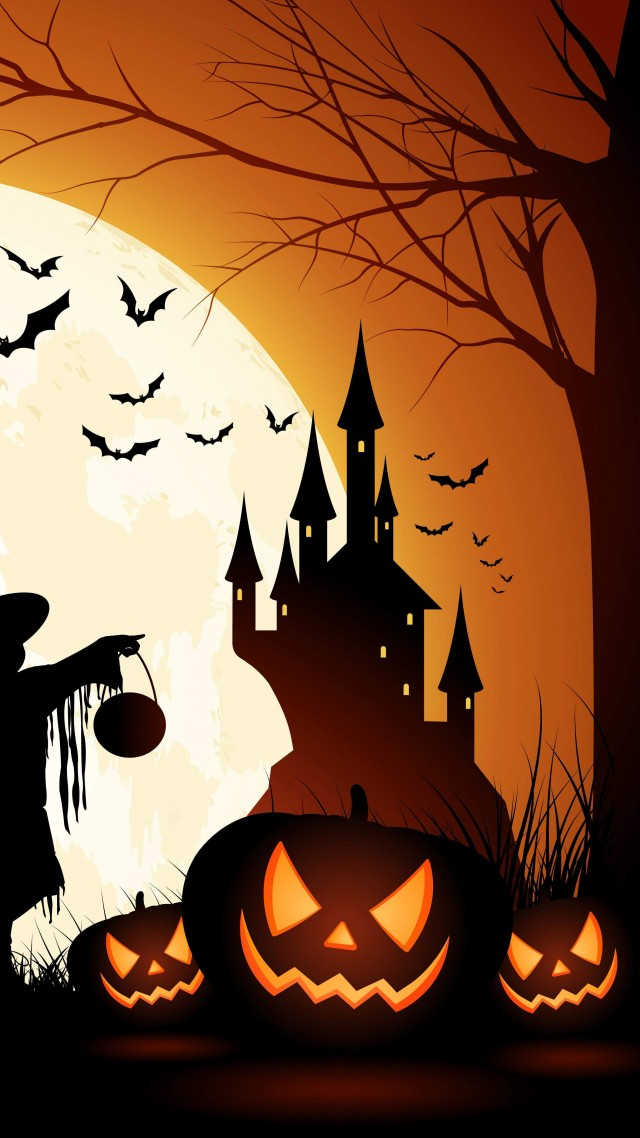 holiday halloween 31 october pumpkin host forest castle vertical - Halloween Holiday