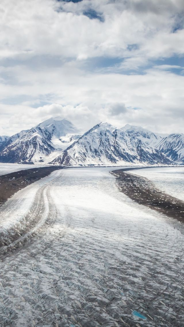 mountains, winter, ice, road