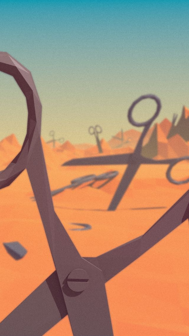polygon, 4k, 5k wallpaper, landscape, nature, scissors, low poly, 3D (vertical)