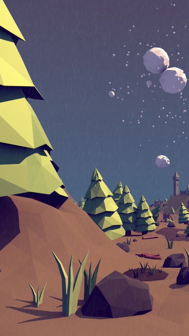polygon, 4k, 5k wallpaper, landscape, nature, low poly, 3D